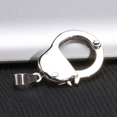 Mens Silver Stainless Steel LOVE Handcuff Charm Necklace Pendant Fashion Cool