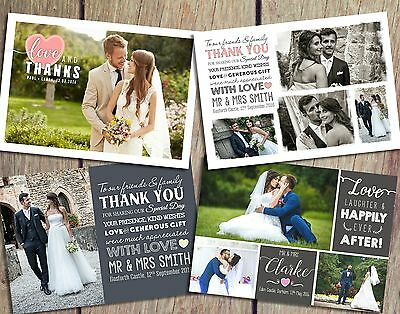 Premium Personalised Wedding Thank You Cards inc. Envelopes + Photos