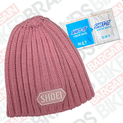 Official Shoei Pink Beanie Hat with Shift It Visor Wipe- Authorised Shoei Dealer