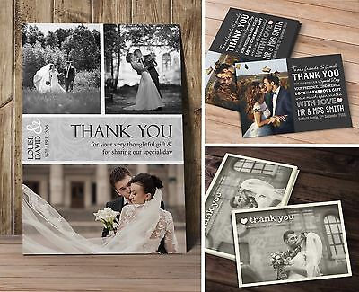 50 x Premium Personalised Wedding Thank You Cards inc. Envelopes + Photos