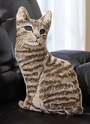 "Tabby Cat Realistic Sitting Pillow 15"" Height New"