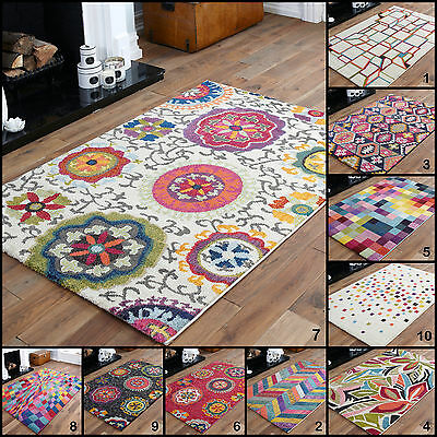 Bright Quality Modern Funky Geometric Shape Multi Colour 10-12 Mm Thick Soft Rug
