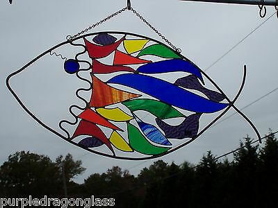 Abstract  fish rainbow stained glass suncatchers  custom made USA