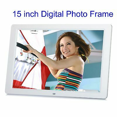 "15"" LCD High Resolution Digital Picture Photo Frame with Remote Controller White"
