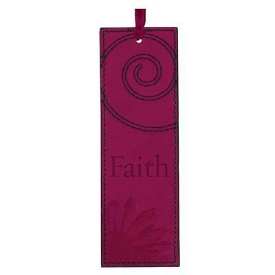 FAITH Maroon/Cranberry Faux Leather Bookmark Page Marker Christian Art Gifts