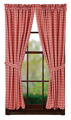 """New Primitive Country TRUE RED & CREAM PLAID SCALLOPED CURTAIN Window Panels 84"""""""