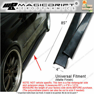 "96/"" Extension Flat Bottom Line Lip Side Skirt w// Fin Diffuser For  Hyundai Kia"