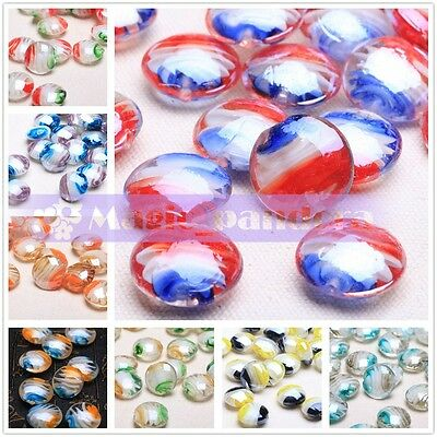 10pcs 20X10mm Round Coin Rondelle Lampwork Glass Loose Beads Fit Necklace Making
