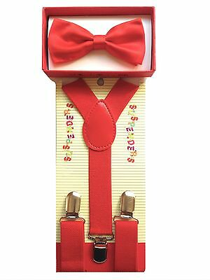 Boys Girls Red Color Set Combo Bow Tie & Clip-on Suspender