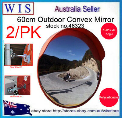 2x60cm Traffic Safety Outdoor Convex Mirror,Polycarbonate,Mount on Wall & Post
