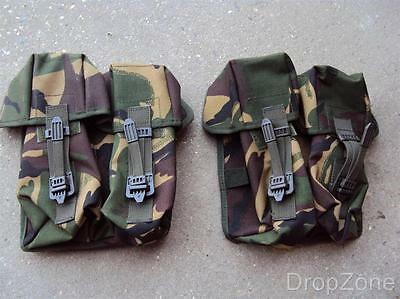 Pair of British Military Woodland DPM SA80 Ammo Ammunition Double Pouch Webbing