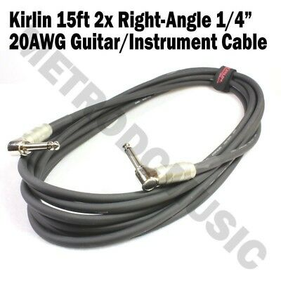 Kirlin 15ft Cable 2x Right-Angle Electric Patch Cord Guitar +Free Cable Tie NEW