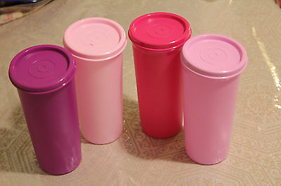 Tupperware 12 oz- Rainbow Tumblers-355ml.- ( SET of 4 ) with Matching Seals-New