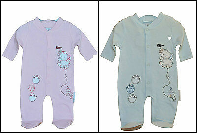 Small baby all in one / bodysuit - Elephant outfit in pink or sky