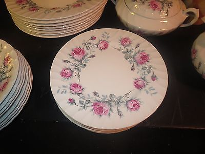 Burgess & Leigh Burleigh Ware Ironstone Bread Plate Pink Roses