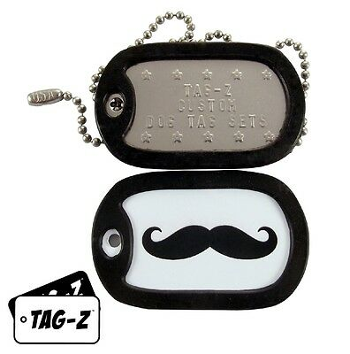 Military Dog Tags - Custom Embossed Tag Set - Emergency Moustache w/ Silencers