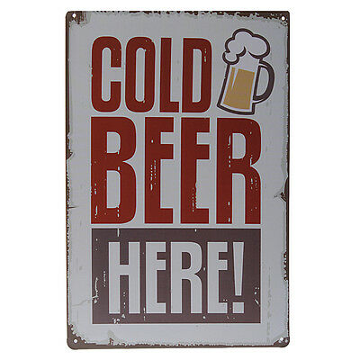 Cold Beer Here Tin Sign Wall Decor Metal Vintage Decorative Painting