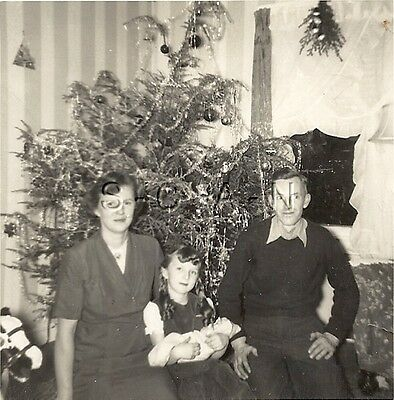 Vintage Real Photo- Christmas Tree- Young Girl- Baby- Mother- Father- 1940s-50s