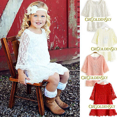 PREMIUM Flower Girl Dress Princess Vintage Birthday Party Wedding Lace Dress