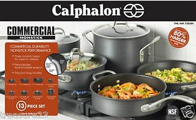 Calphalon 13pc Commercial NonStick Hard Anodized Kitchen Cookware Set  New