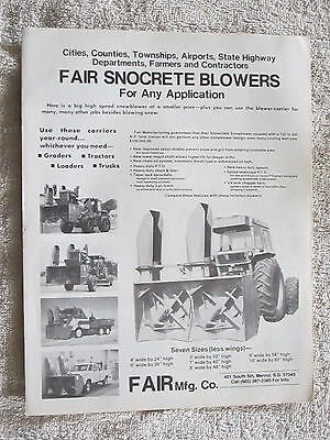 VINTAGE FAIR MFG.Co. SNOCRETE TRUCK, TRACTOR SNOW BLOWERS / SNOWPLOW BROCHURE