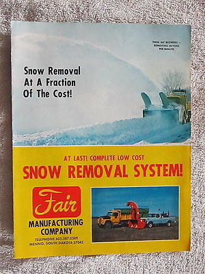 VINTAGE FAIR MFG.Co. TRUCK, TRACTOR SNOW BLOWERS / SNOWPLOW BROCHURE