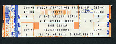 1982 Heart John Cougar Unused Full Concert Ticket Los Angeles Forum Barracuda