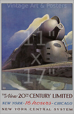 NY Central RR 20th Century Ltd - 11x17 inch Vintage Rail Road Travel Poster