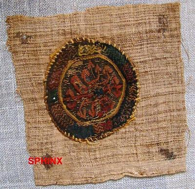 38Cop) Colorful And Enigmatic Coptic Textile Roundel.rare.