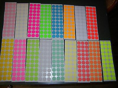 "450 3/4"" circle BLANK garage yard sale stickers labels price tags tabs 15 colors"