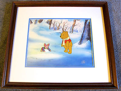 Disney The New Adventures of Winnie the Pooh Cel Framed with Piglet and Pooh