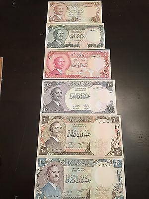Reproduction Set King Hussein Half 1,5,10, 20 Dinars Jordanian Money 1970s-1985