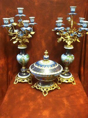 "Pair French Sevres Gilt Bronze Cobalt HP Porcelain Candelabras 22""+ Center Piece"
