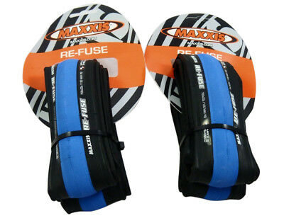 2x (Pair) Maxxis Re-Fuse Folding Tyres 700 X 23c Refuse - BLUE Road Bike Tires
