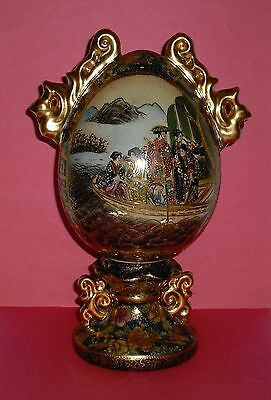Vintage Satsuma Porcelain Egg Sculpture Made In China 11 1/4 Inches Tall