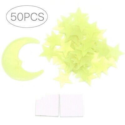 SG - 50 Glow In The Dark Star and Moon Shapes for Ceiling Wall Bedroom US