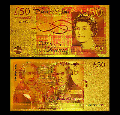 British £50 Pound 24Kt Gold Limited Edition Coloured Bank Note