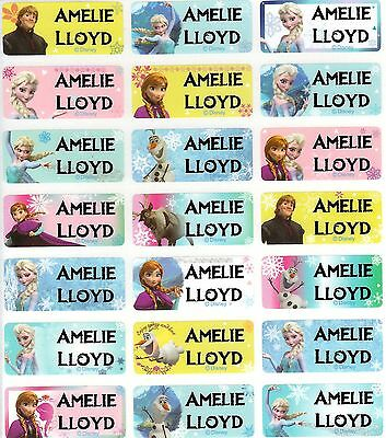 96 Frozen Personalised Name / School Label Stickers Med (30*13mm) Diswasher Safe