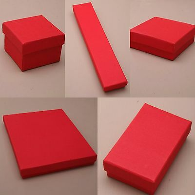 Pack of 12 Red Card Gift Jewellery Boxes Black Insert Wholesale Bulk