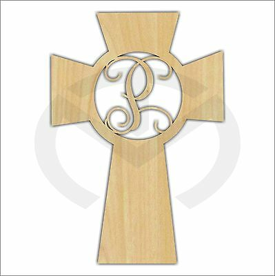 Unfinished Wood Cross Monogram Laser Cutout with Your Initial, Various Sizes