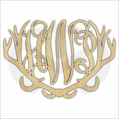 Custom Wood Monogram with Antler Accents, Laser Cut, Various Sizes, Unfinished