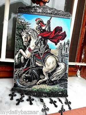 ST. GEORGE HOLY RELIGIOUS WOVEN WALL HANGING TAPESTRY  CRUCIFIXES (LARGE) TPS#5