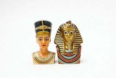 King Tut Bust And Queen Nefertiti Ceramic Salt Pepper Shakers Ancient Egyptian
