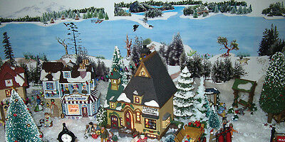 Christmas village background; model train, snow, dept 56