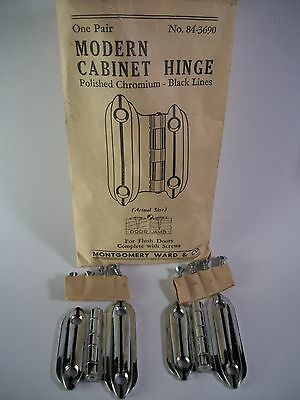 Pair NOS c1950 Chrome Cabinet Door Hinges Art Deco Flush VTG Mid Century Black