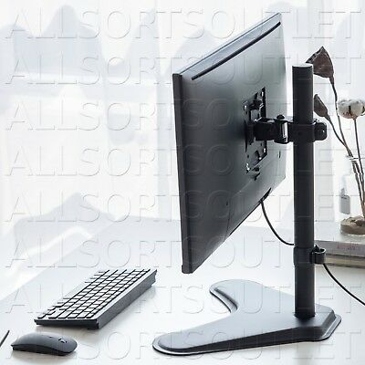 Lcd Single Vesa Screen Monitor Desk Stand Mount Freestanding Adjustable 15-27""