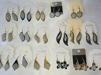 Joblot 60 Pairs Mixed design metal Fashion Dangly Earrings - NEW Wholesale lot U