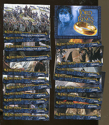 Lord of the Rings ROTK Topps Complete Set cards R1-R20 Legolas Frodo Eomer Arwen