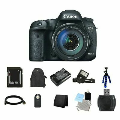 Canon EOS 7D Mark II 20.2MP Digital SLR Camera w/18-135mm Lens 64GB Full Kit