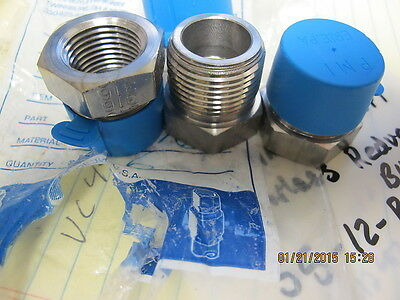 "(3) ¾"" MNPT x ½"" FNPT Reducing Bushing Swagelok SS-12-RB-8 Stainless SSP Fitting"